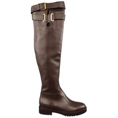 VALENTINO Leather Boots  - Size 8.5 Brown Over the Knee BOWRAP Riding