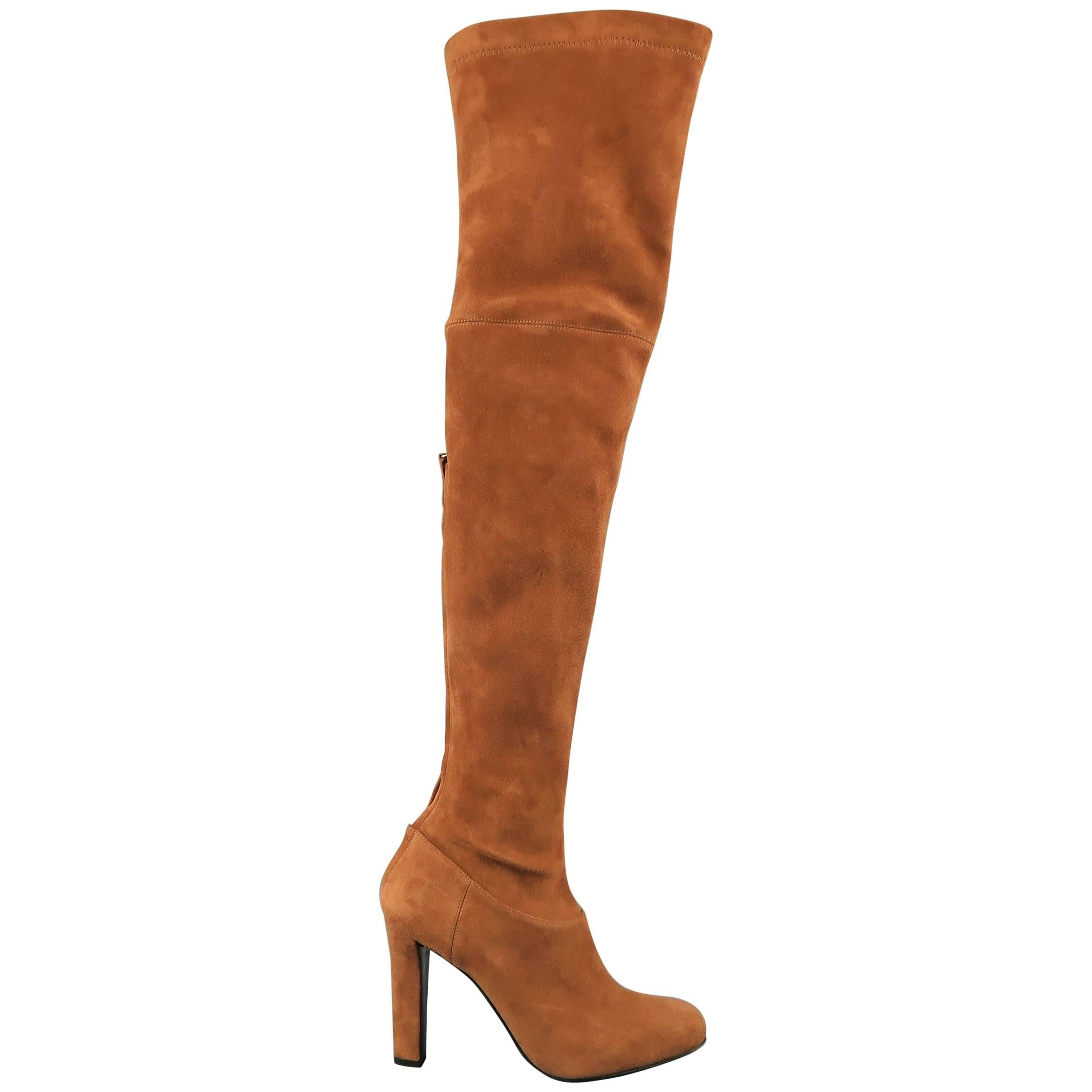 9 Tan Suede Thigh High Boots