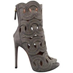 ALAIA Size 8.5 Gray Studded Cutout Suede Ankle Peep Toe Boots