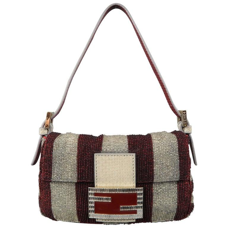 d95e8fe14 Fendi Bag Burgundy & Silver Beaded Crystal Buckle Mini Baguette Handbag For  Sale
