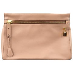 Tom Ford Nude Textured Leather Gold Padlock Alix Clutch Handbag