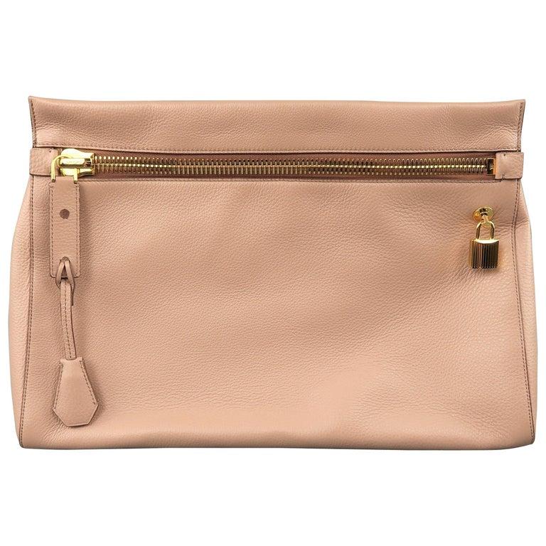 Tom Ford Handbag - Alix - Nude Textured Leather Gold Padlock Clutch Bag