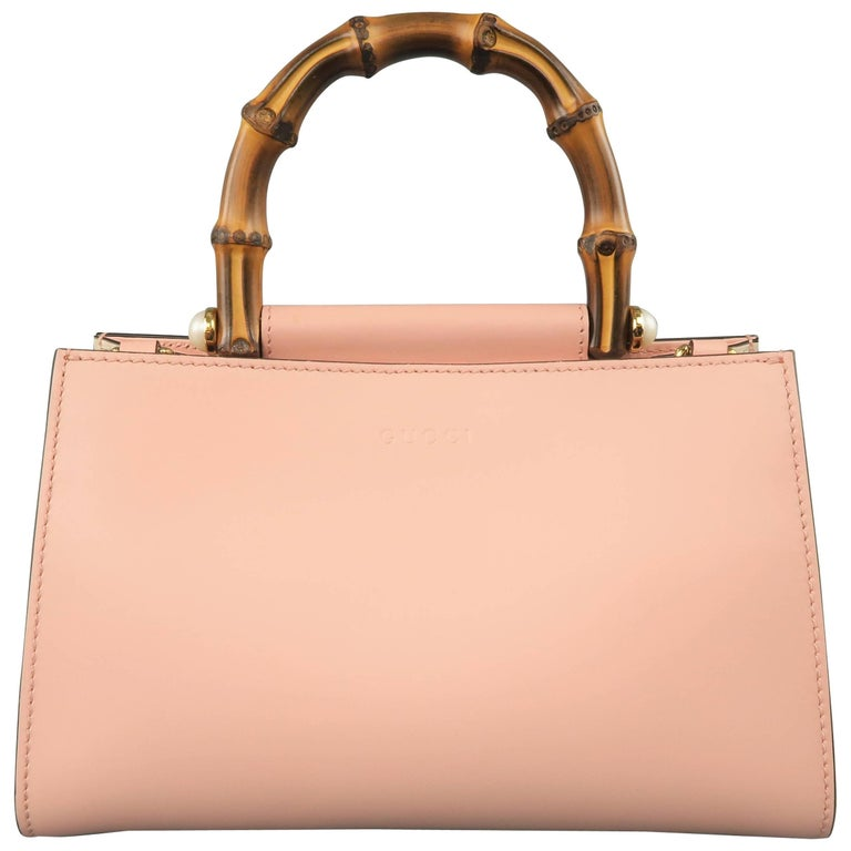 Gucci Pink Leather Nymphaea Bamboo Top Handle Striped Crossbody Strap Bag