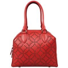 Alaia Red Perforated Leather Mini Top Handles Cross Body Handbag