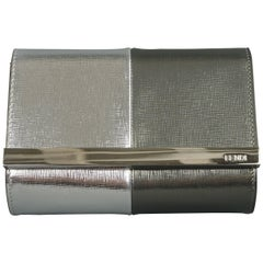 FENDI Two Tone Metallic Silver Leather Evening Mini Rush Clutch Handbag