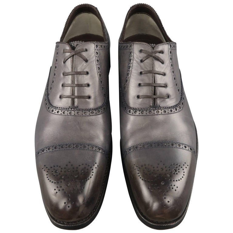 Men's TOM FORD Size 13 Dark Gray Perforated Leather Edgar Medallion Shoes