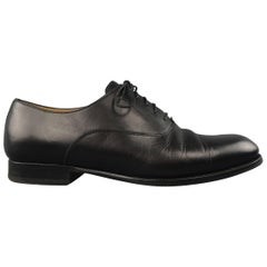 Men's HERMES Size 9 Black Leather Toe Cap Lace Up Napoli Oxford Dress Shoes