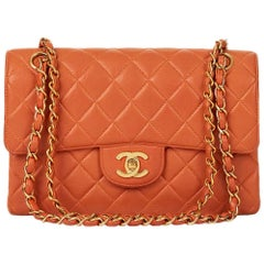 1990s Chanel Burnt Orange Quilted Lambskin Small Double Sided Classic Flap Bag