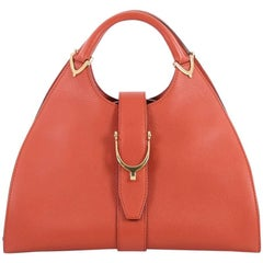 Gucci Large Stirrup Top Handle Leather Bag