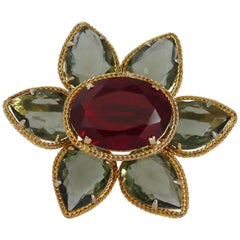 Christian Dior Vintage 1961 Jewelled Flower Brooch