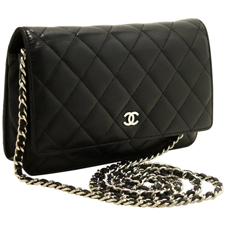 a667c38ca274fa CHANEL Black Wallet On Chain WOC Shoulder Bag Crossbody Lambskin For Sale