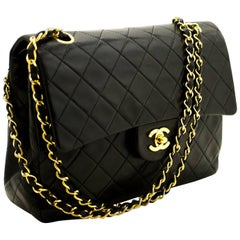 CHANEL 2.55 Double Flap Chain Shoulder Bag Black Quilted Lambskin