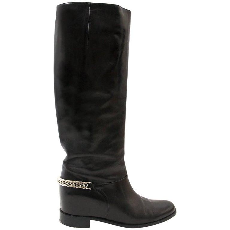 watch c9e6b 15e58 Christian Louboutin Black Cate Silver Chain Flat Calf Riding Boots - Size 40