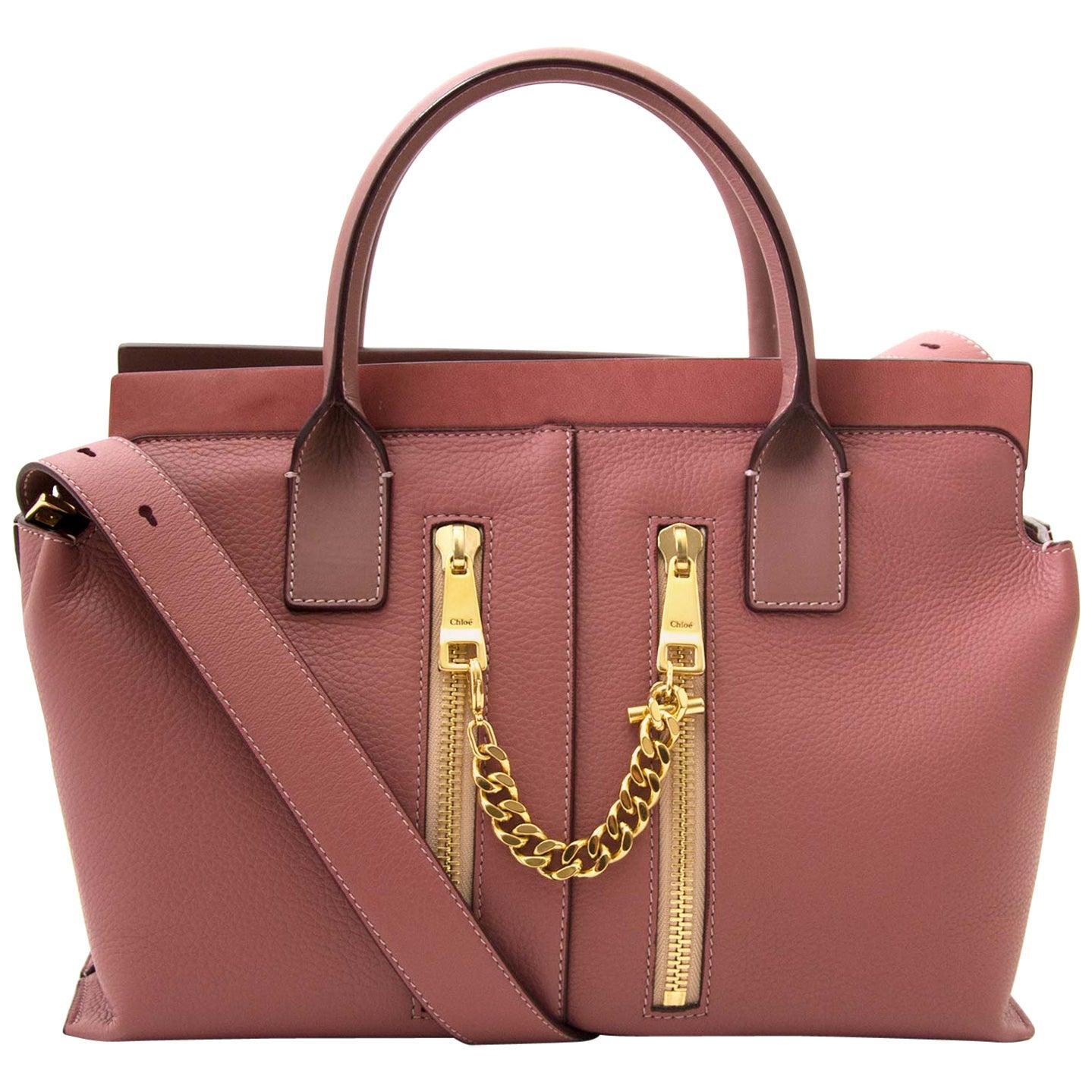 Chloe Pink Leather Cate Zipper Satchel Bag