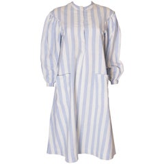 A vintage 1970s Blue and White Cotton Dress by Pierre D' Alby
