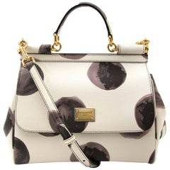 Dolce & Gabbana White Leather Miss Sicily Medium Shoulder bag