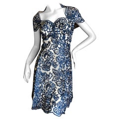Marchesa Notte Embroidered Lacey Cocktail Dress New with Tags Size !2