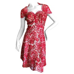 Marchesa Notte Embroidered Lacey Red Cocktail Dress New with Tags Size !2