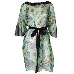 A Vintage 1970s Silk abstract printed summer beach Dress