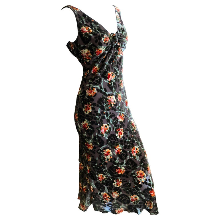 John Galliano Vintage Floral Devore Velvet Cocktail Dress