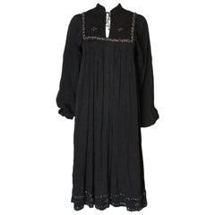 A Vintage 1970s Black cotton bohemian Summer Dress