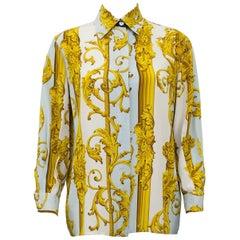 1990s Gianfranco Ferre Silk Baroque Print Shirt