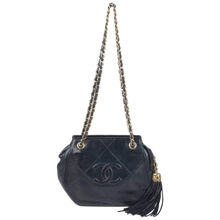 CHANEL Vintage Blue Quilted Leather Tassel Shoulder Bag
