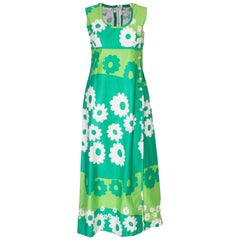A Vintage 1960s green cotton floral printed long Summer Dress