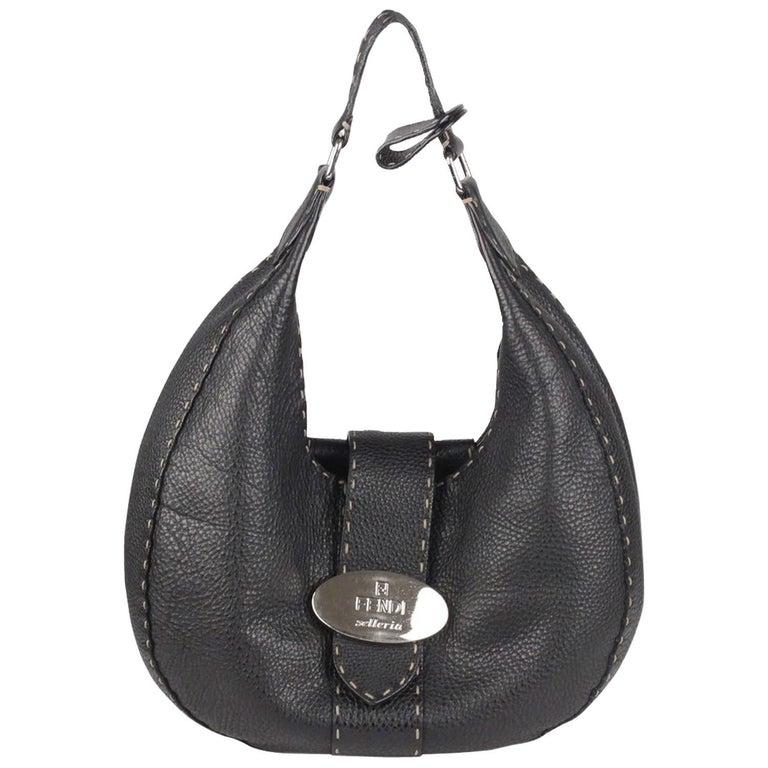 FENDI SELLERIA Black Leather Hobo Shoulder Bag