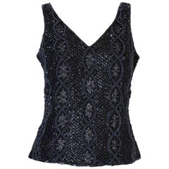 A Vintage 1980s black Beaded Evening Top by Adrianna Papelle