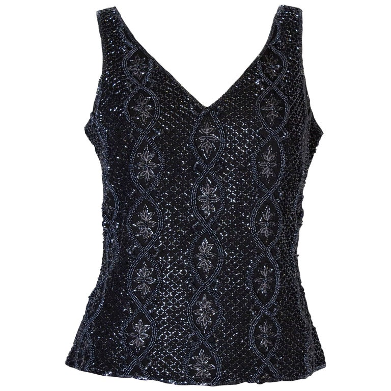 A Vintage 1980s black Beaded Evening Top by Adrianna Papelle For Sale