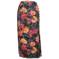 Emanuel Ungaro Parallele Paris 1980s Wool / Silk Long Floral Skirt Size 4/6.