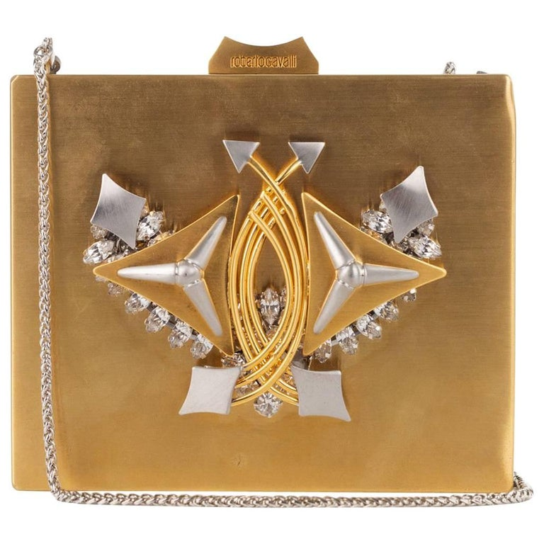 Roberto Cavalli Metallic Gold Metal Embellished Shoulder Bag Clutch