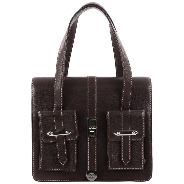 193eaf7fba83 Chanel Vintage Mademoiselle Lock Pocket Flap Bag Caviar Small at 1stdibs
