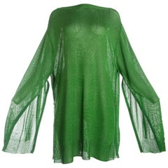 Yohji Yamamoto green acrylic knitted oversized sweater with zippers, A / W 1986