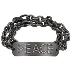 White Diamond Personalized PEACE Double Wrap Bracelet