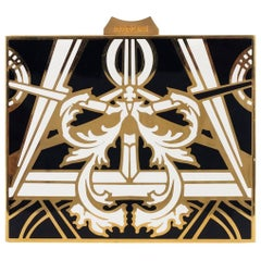 Roberto Cavalli Gold Metallic Metal Printed Square Clutch