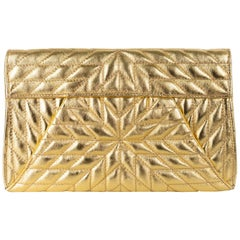 Roberto Cavalli Gold Metallic Large Quilted Shoulder Bag Clutch