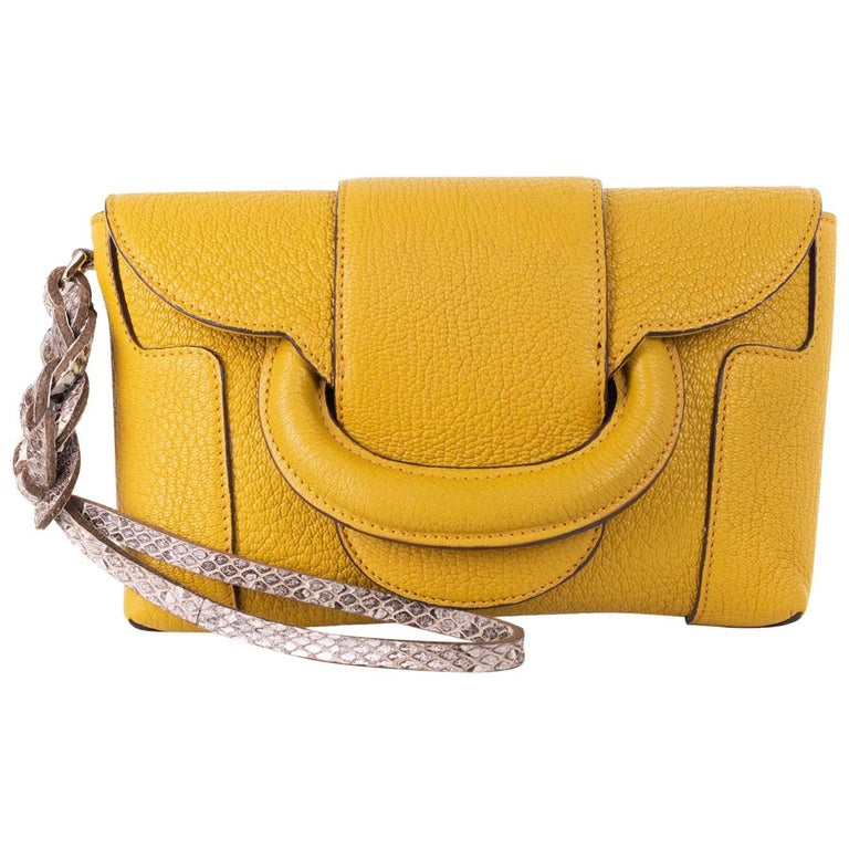 Roberto Cavalli Solid Mustard Yellow Grained Leather Wristlet Clutch