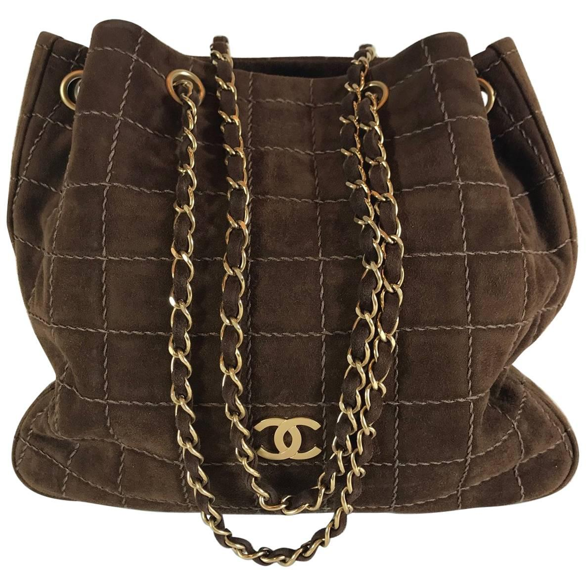 Chanel Suede Quilted Tote For Sale at 1stdibs