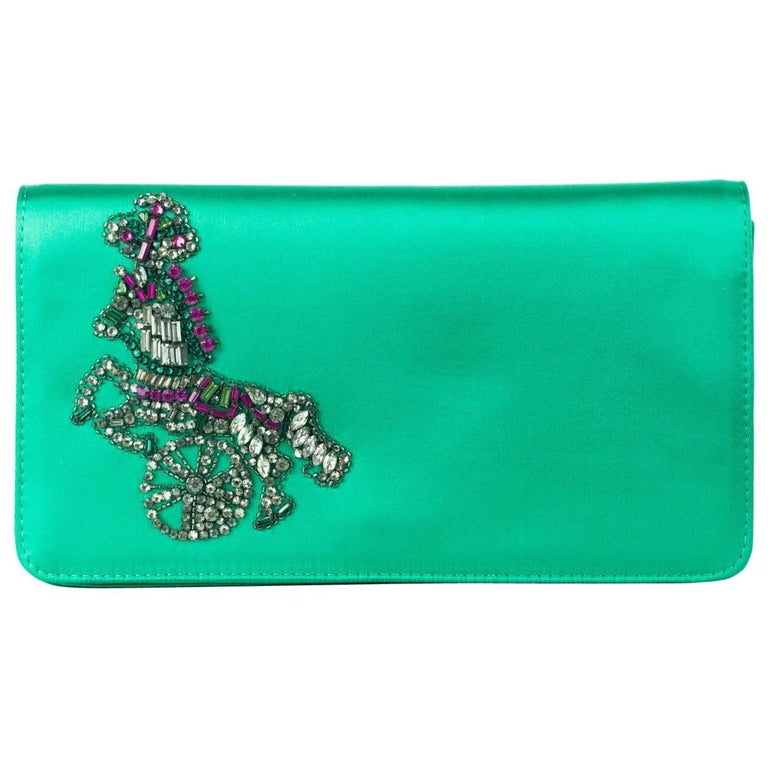 Roberto Cavalli Solid Green Satin Embellished Embroidered Clutch