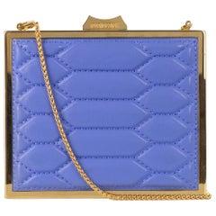 Roberto Cavalli Blue Snake Embossed Gold Metallic Shoulder Bag Clutch