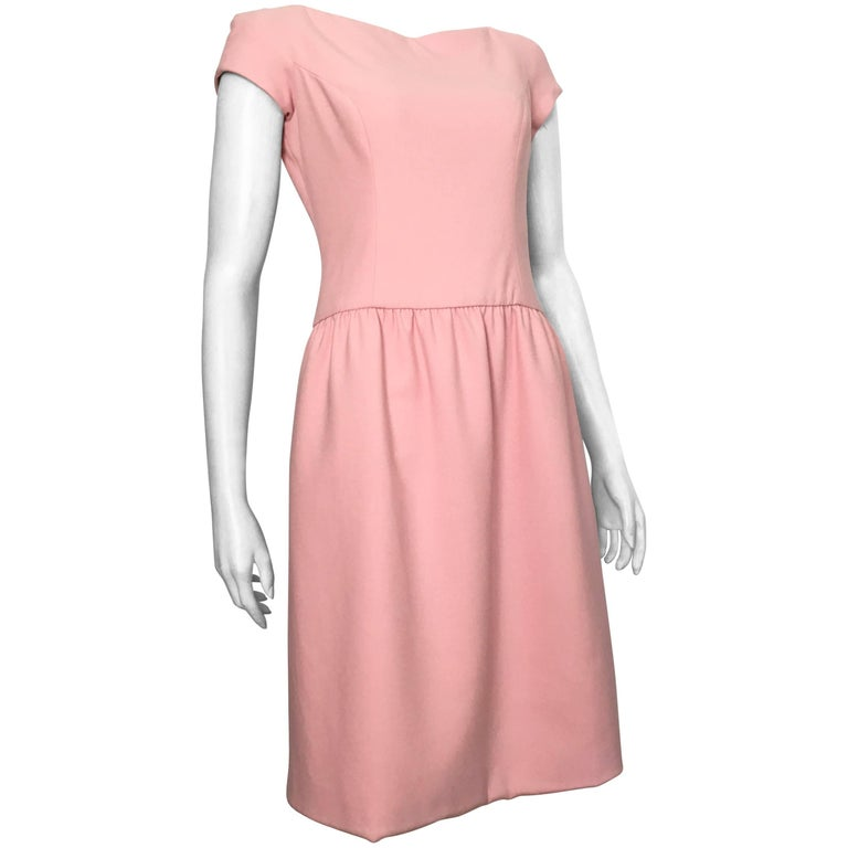 Ralph Lauren Collection Purple Label Pink Wool Shift Dress with Pockets Size 6.