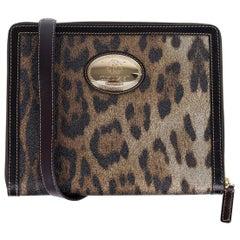 Roberto Cavalli Matte Black Print Ipad Case Leopard Leather Shoulder Bag