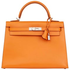 Hermes Orange H Calf Leather Kelly 32cm Sellier Bag, 2004