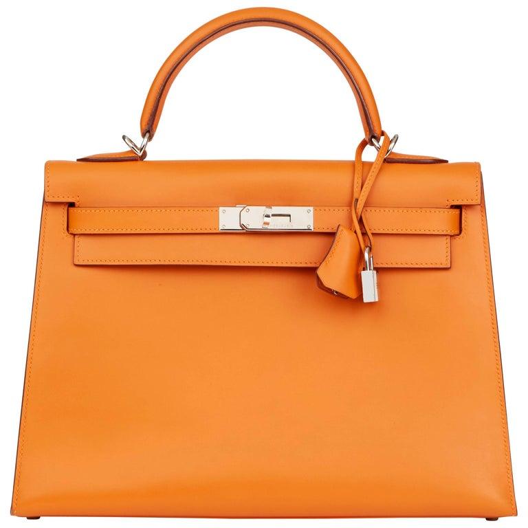 Hermes Orange H Calf Leather Kelly 32cm Sellier Bag, 2004  For Sale