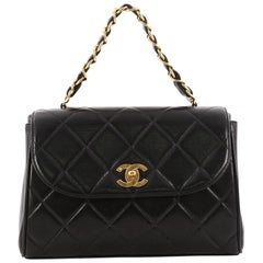 Chanel Vintage Square Chain Handle Flap Bag Quilted Lambskin Mini