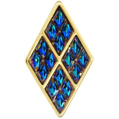 1980s Yves Saint Laurent Vermeil Iridescent Blue Rhinestone Brooch Original Box