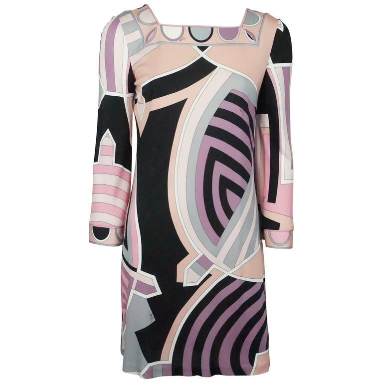Emilio Pucci Pink, Black, and Earthtones Printed L/S Dress - 6