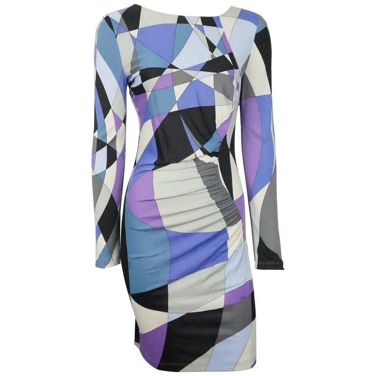 Emilio Pucci Blue Printed LS Dress - 10